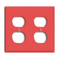 Wall Plate 2Gng Dplx Recpt Red By Cooper Wiring + [
